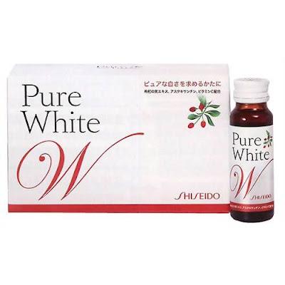 pure white, shiseido, nước uống trắng da, làm trắng da, sản phẩm làm trắng da, nước uống trắng da pure white