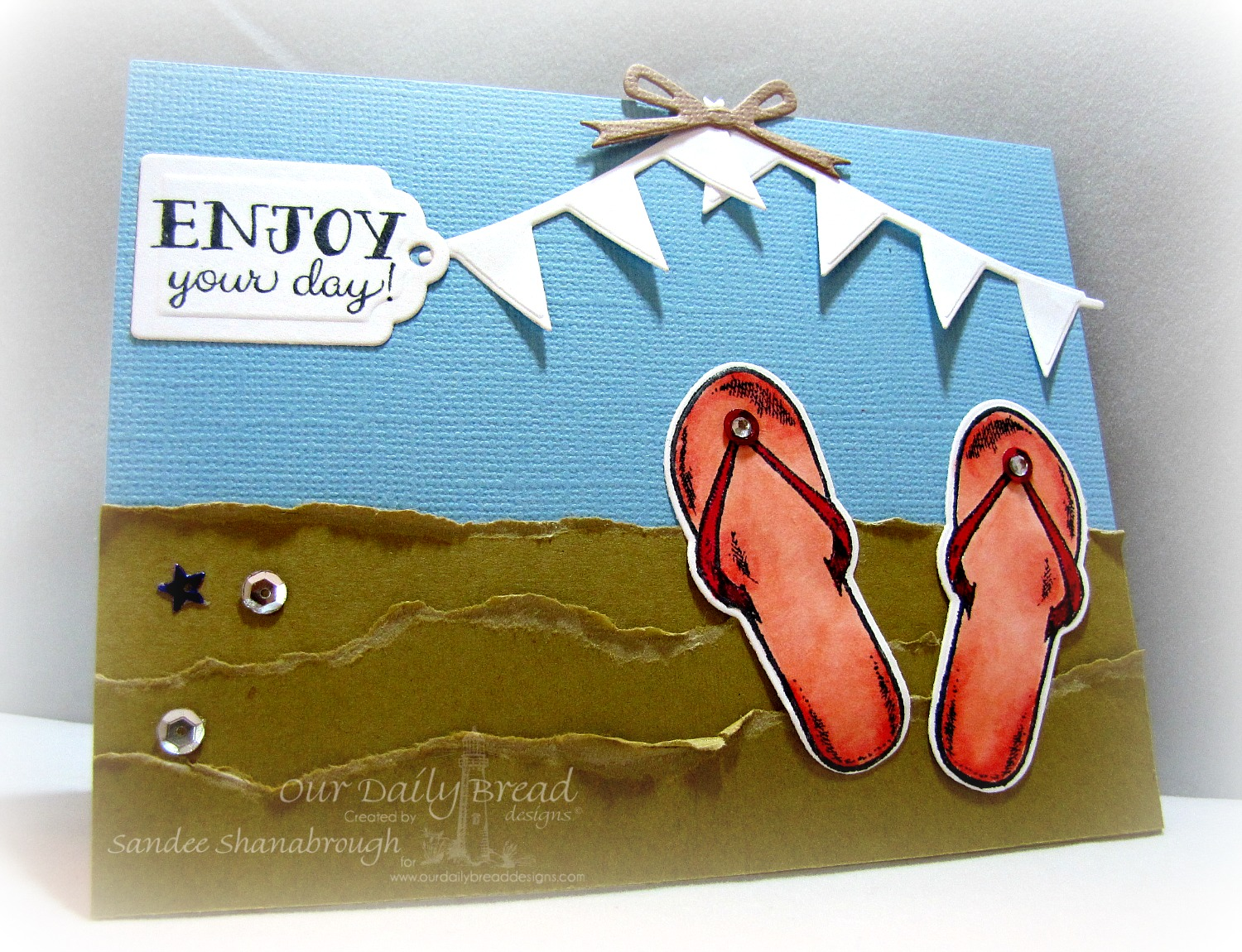 Stamps - Our Daily Bread Designs Flip flop Fun, ODBD Custom Flip Flop Dies, ODBD Custom Pennant Row Die, ODBD Custom Circle Ornament Dies, ODBD Custom Recipe Card and Tags Dies
