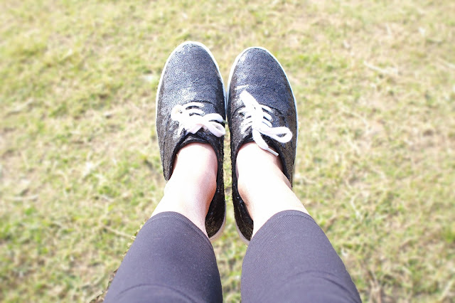 sequinned black sneakers