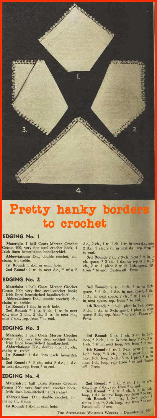 vintage crochet pattern for hankie edging