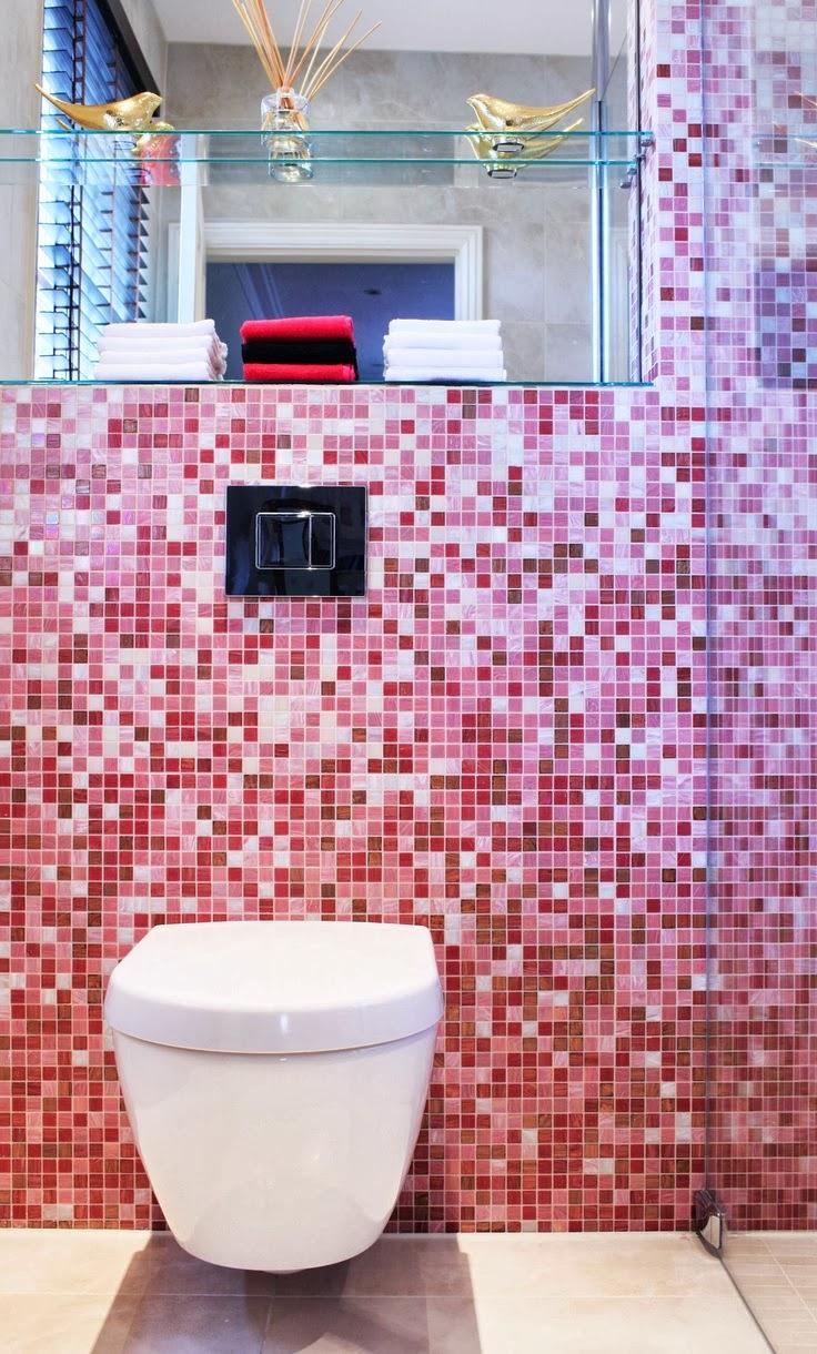 mosaique salle de bain rose - to da loos pink bathrooms yes pretty ones