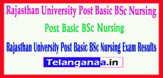 Rajasthan University Post Basic BSc Nursing Exam Results 2018