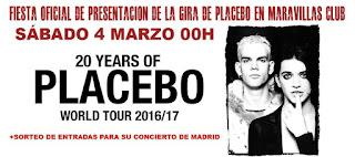 Fiesta oficial presentación tour Placebo 2017