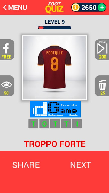 FootQuiz Calcio Quiz Football ( SHIRT) soluzione livello 1-10