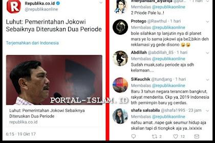 Luhut: Pemerintahan Jokowi Sebaiknya Diteruskan Dua Periode; Netizen: Boleh di Planet Mars