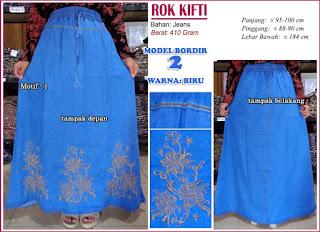 Rok jeans dengan hiasan bordir cantik - kifti model 2 motif 1