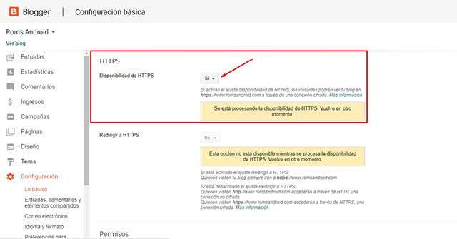 Disponibilidad de HTTPS en blogger