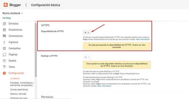 Disponibilidad de HTTPS en blogger
