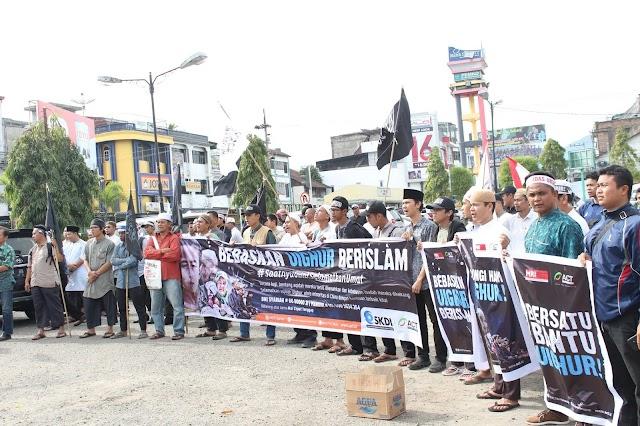 Aksi Solidaritas Bela Muslim Uyghur di Kota Padangsidimpuan