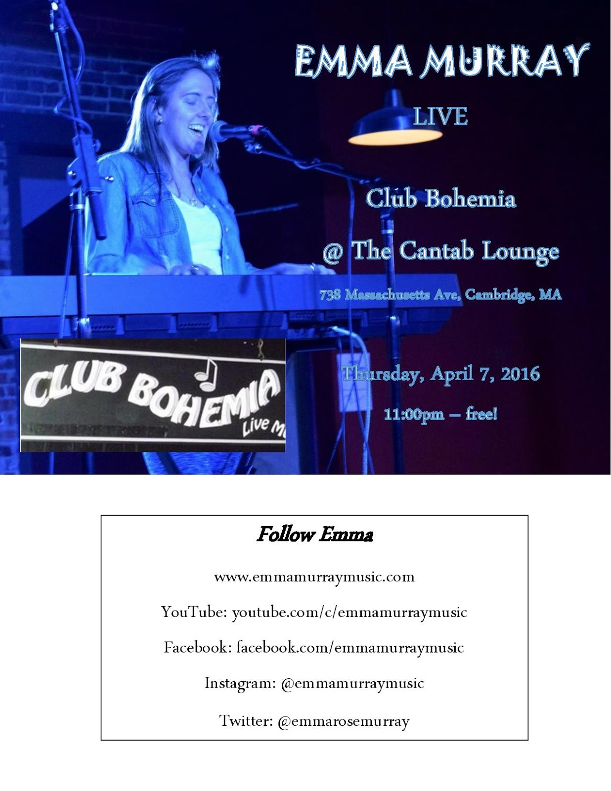 The Club Bohemia Newsletter - the Premiere Music Site for