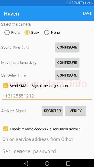 Haven schermata impostazioni app