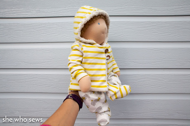 Baby doll modelling preemie clothes