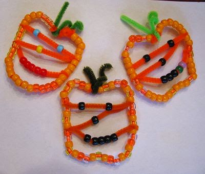 Beaded Pumpkin Jack O' Lanterns