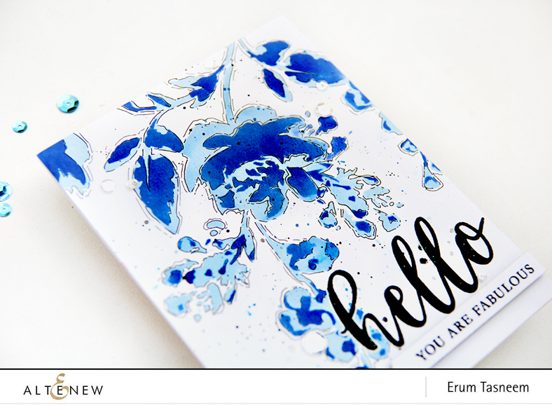 Altenew Watercolor Bouquet Stencil - inked with Altenew Crisp Inks | Erum Tasneem | @pr0digy0