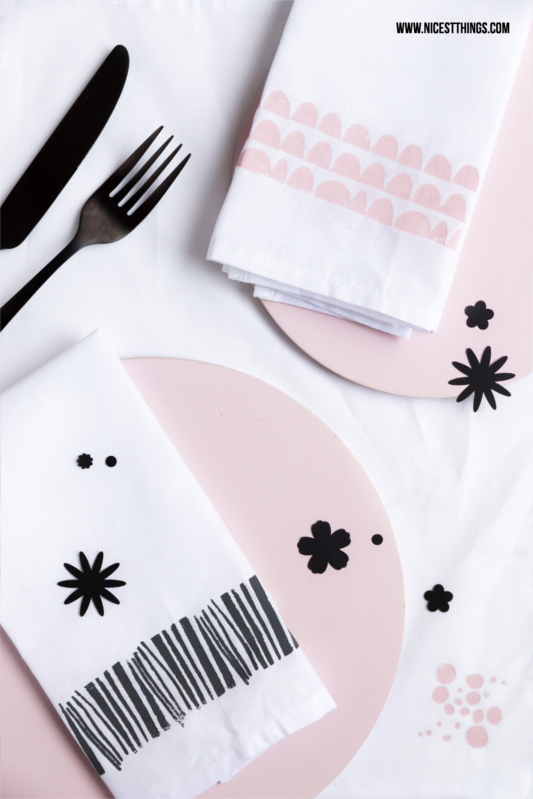 DIY Painted and Stamped Napkins