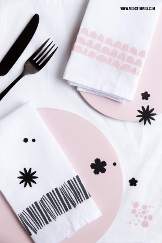 DIY Servietten bestempeln Stoffservietten selber machen
