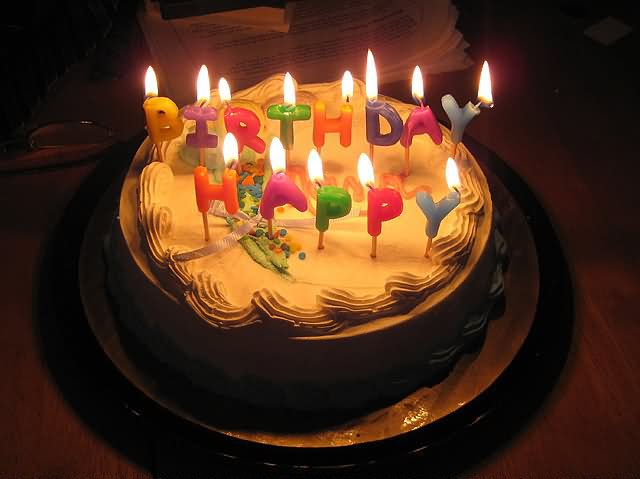 Happy Birthday Chocolate Cake With Candle Images/Beautiful ...