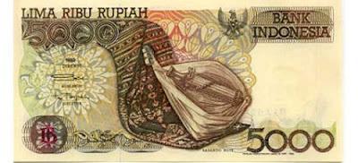 Gambar uang kertas Indonesia Rp 5000 terbitan tahun 1992