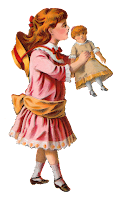 girl victorian toy doll clipart image digital download craft supply
