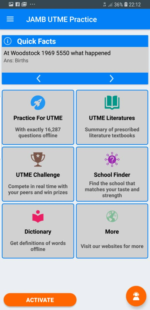 Other Features of the UTME CBT Practice Software