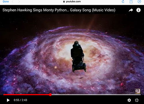 Stephen Hawking, who helped us on our journey through the cosmos, continues on himself (Source: Monte Python)