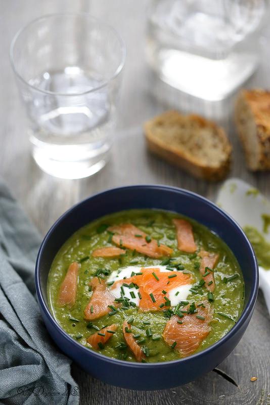 Soupe veloutée de haricots verts et saumon fumé