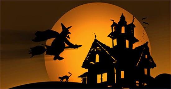 bruxa voando vassoura