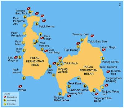 Peta Pulau Perhentian Besar dan Pulau Perhentian Kecil