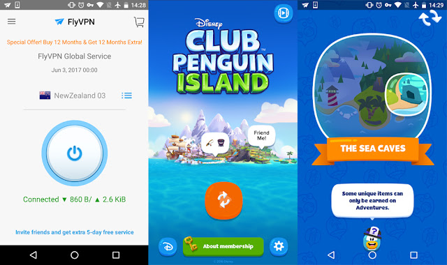 Play Club Penguin Island with FlyVPN