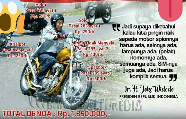 Motor Choper Jokowi Diduga Langgar 5 Pasal UU Lalu Lintas, Ini Total Dendanya