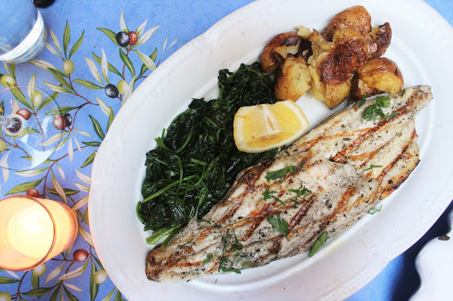 Branzino Alla Griglia Grilled Italian Sea Bass With Sautéed Spinach And Herb-Pressed Potatoes at Palma