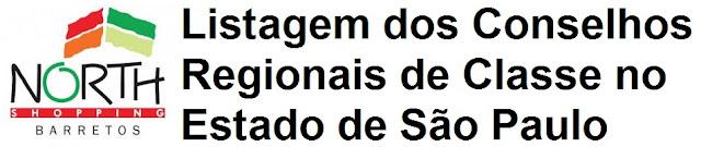 Listagem dos Conselhos Regionais de Classe no Estado de São Paulo