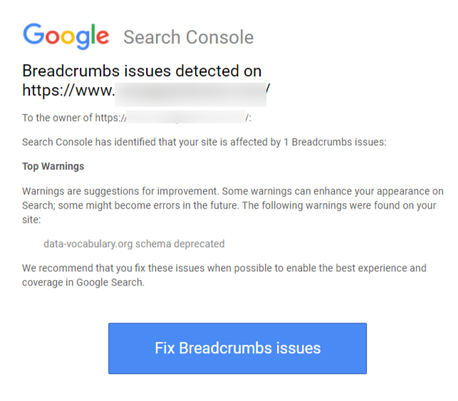 how to fix data-vocabulary.org schema deprecated error