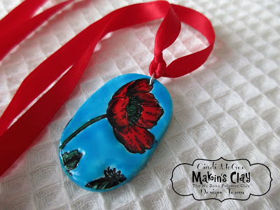 Glazed Poppy Pendant made with Makin's Clay® by Cindi McGee