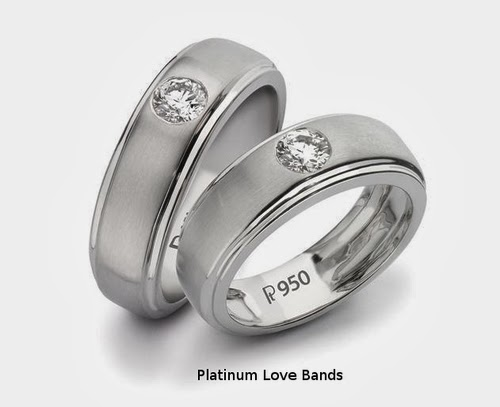 Platinum Love Bands with Solitaires SJ PTO 101 by Suranas Jewelove