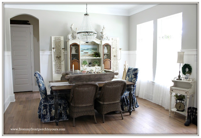 French Country Farmhouse Dining Room-Pottery Barn Chandelier- From My Front Porch To Yours