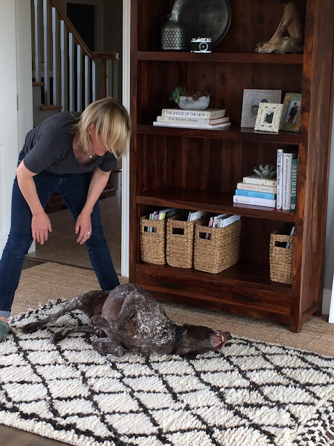 Dave enjoying our new Berber rugs