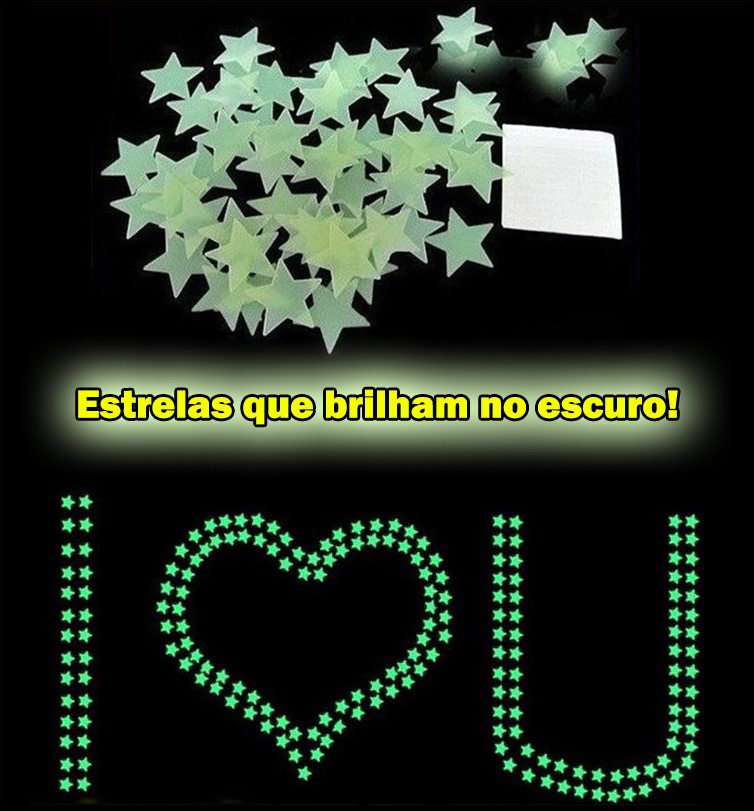 Armario Segunda Mano Mallorca ~ 100 Estrelas Fluorescentes Neon Parede Quarto Brilha Escuro R$ 12,90 em Mercado Livre