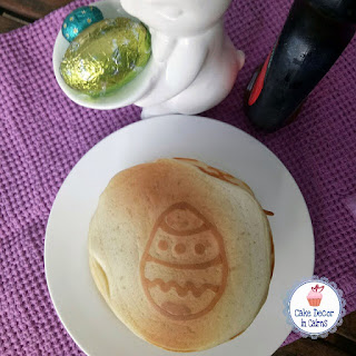 Pancake with Easter Egg Pattern Displayed on White Plate with bunny