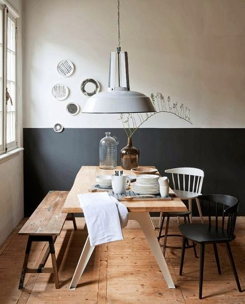 15 comedores decorados en blanco y negro