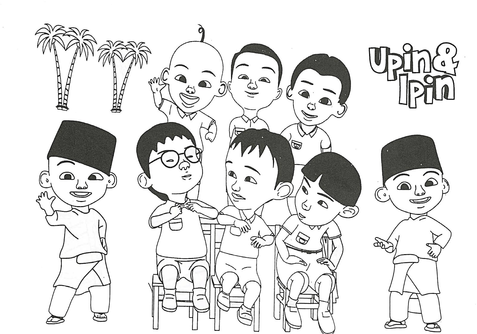 Gambar Mewarnai Upin Ipin Untuk Anak PAUD dan TK Aneka