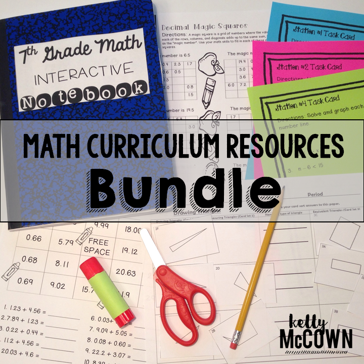 Kelly McCown: 7th Grade Math Curriculum Resources BUNDLE