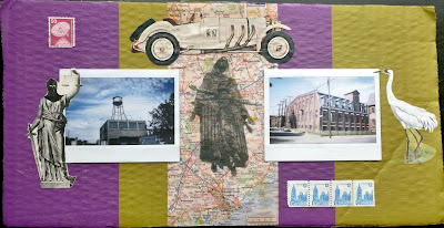 postage stamp polaroid map collage