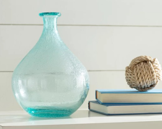 Coastal Light Blue Glass Vases Decor Ideas