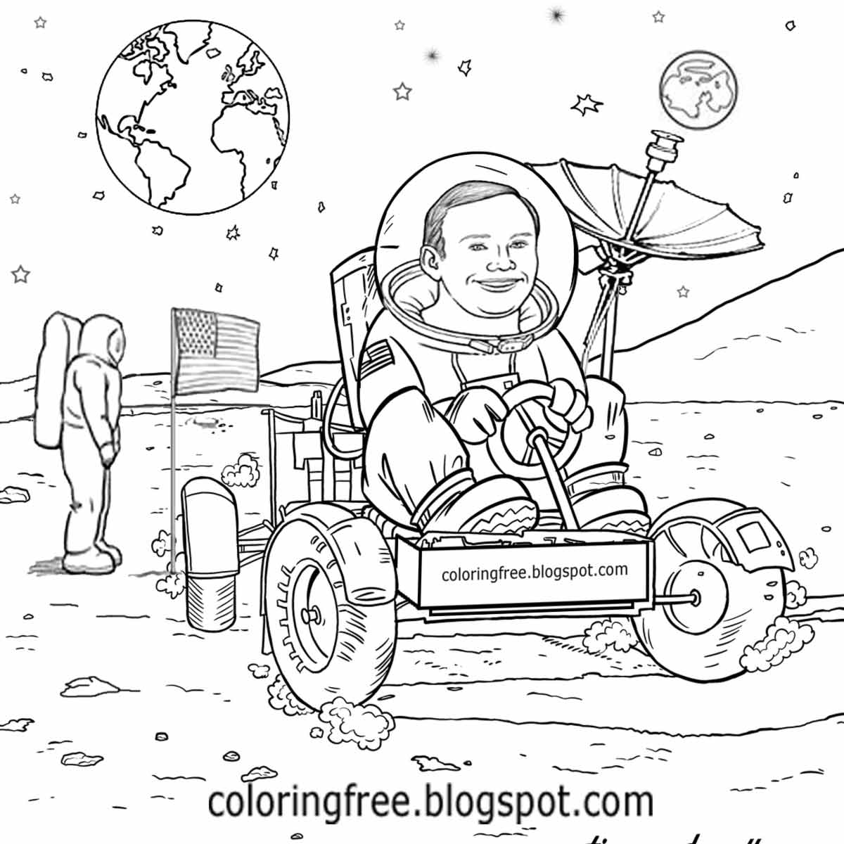 Colouring sheets of the lunar eclipse - New Space Exploration Usa Astronaut Lunar Buggy Rover Super Moon Car Coloring Book Pictures For Kids