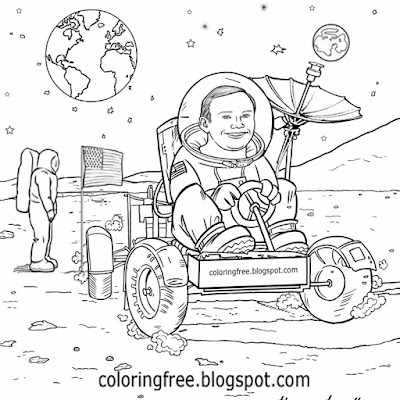 New space exploration USA astronaut lunar buggy rover super moon car coloring book pictures for kids