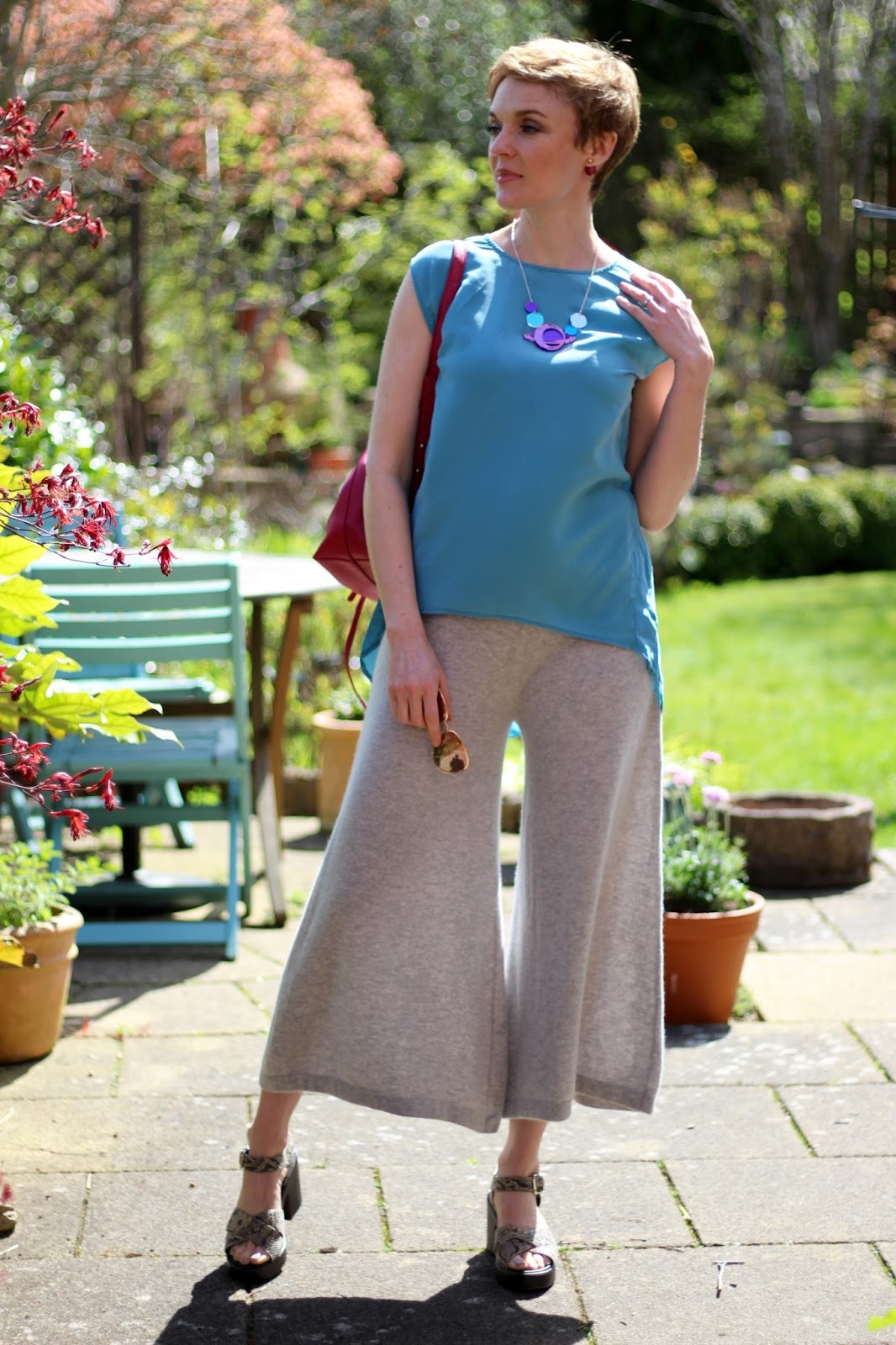 Blue Top & Grey Culottes | Tatty Devine Barbican Space Necklace | Fake Fabulous