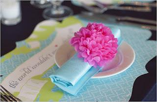rond de serviette pompon en papier