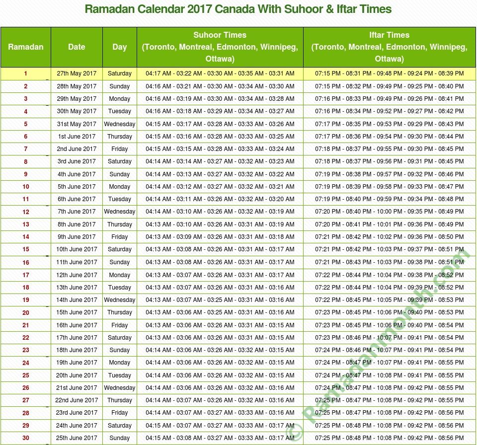 Ramadan timetable 2018 Canada