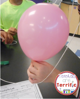 STEM Challenge: Students use balloon to power their vertical rockets. The rockets are propelled along a string and must resemble a rocket!
